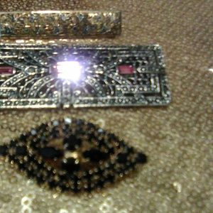3 vintage Pins,Garnet,800 Marcasite,Pink marcacite